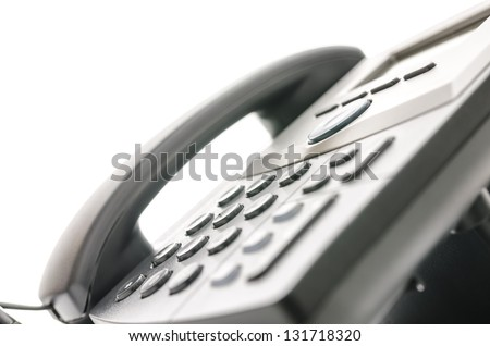 Closeup of a telephone keypad with selective focus. Concept of contact center. - stock photo