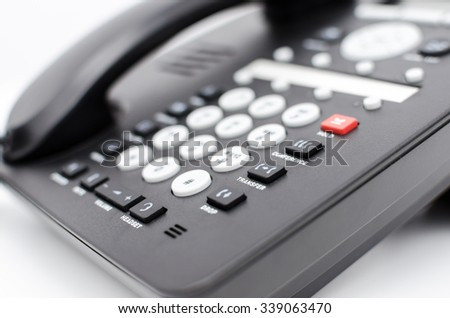 Closeup of a telephone keypad with selective focus.  Shallow depth of field. - stock photo