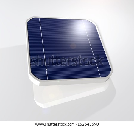 closeup of a tilted and suspended solar cell that has the sun reflected on its top right corner, on a white background