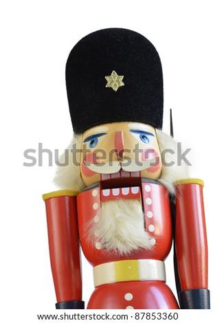 closeup of a traditional wooden nutcracker - stock photo