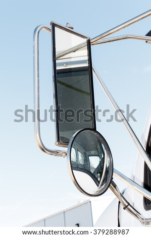 Closeup of a truck side mirror