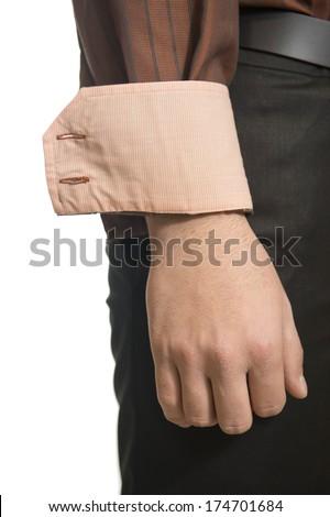 Closeup of a unknown man. Detail cuff. - stock photo