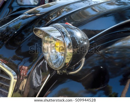 Closeup of a vintage car Headlight