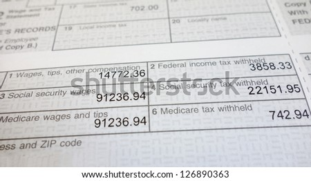 Closeup of a W2 form showing Social Security and Medicare deductions