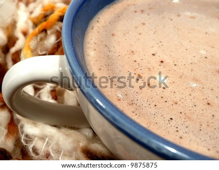 Closeup of a warm inviting mug of hot chocolate