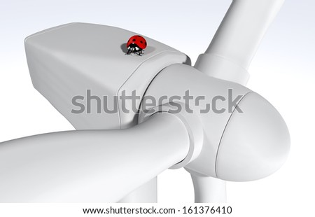 closeup of a wind generator where on top there is a red ladybug, on a clear grey background
