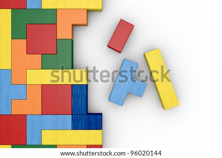 closeup of a wooden puzzle made with blocks of different shape and color (3d render) - stock photo