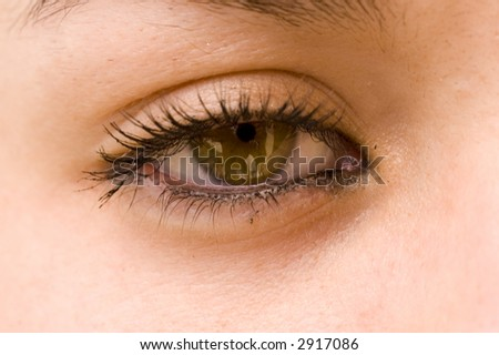 Closeup of a 16 year old girls eye with makeup