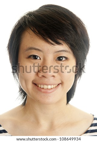 Closeup of a young asian woman isolated on white background - stock photo