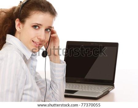 Closeup of a young call service girl - stock photo
