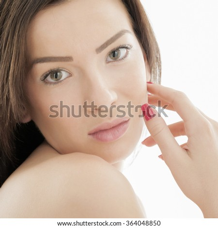 Closeup of a young fresh and beautiful woman. - stock photo