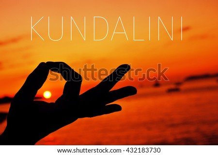 closeup of a young man meditating with his hands in gyan mudra at sunset and the text kundalini - stock photo