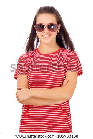 Closeup of a young woman wearing glasses - stock photo
