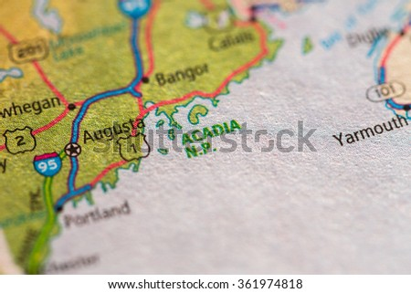 Closeup of Acadia National Park on a geographical map. - stock photo