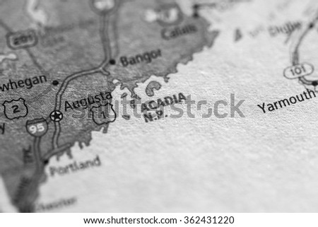 Closeup of Acadia National Park on a geographical map. (black and white) - stock photo