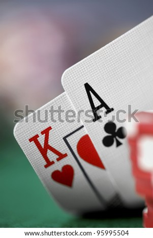 Closeup of Ace-King playing cards.