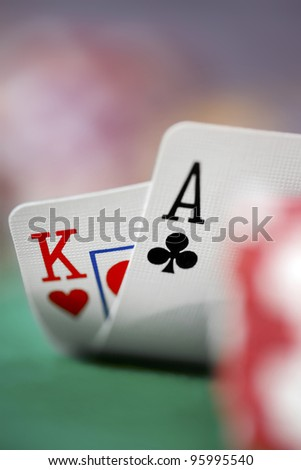 Closeup of Ace-King playing cards. - stock photo