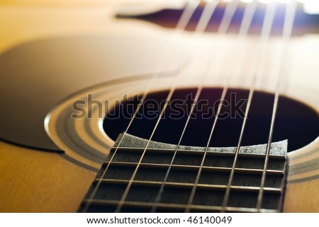closeup of acoustic guitar with shallow depth of field