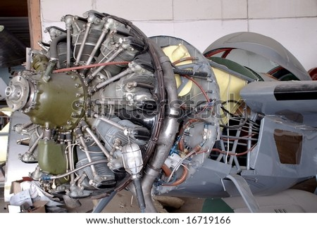 closeup of Aircraft propeller engine