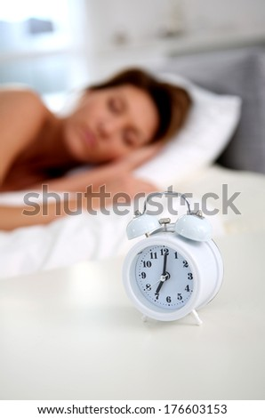 Closeup of alarm clock set on bedroom table