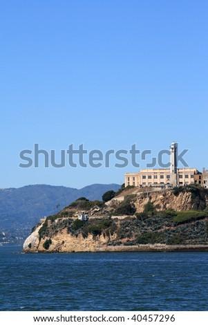 Closeup of Alcatraz Island in San Francisco California - stock photo