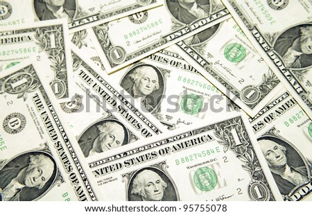 Closeup of American banknotes