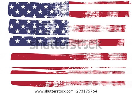 Closeup of  American flag in brush painting pattern - stock photo