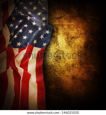 Closeup of American flag on grunge background. Copy space - stock photo