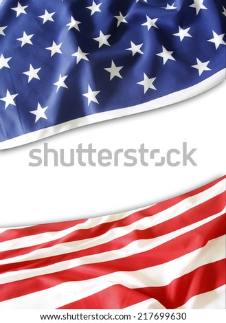 Closeup of American flag on white background - stock photo
