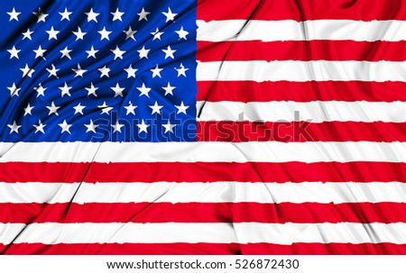 closeup of american USA fabric flag, stars and stripes, texture of united states of america