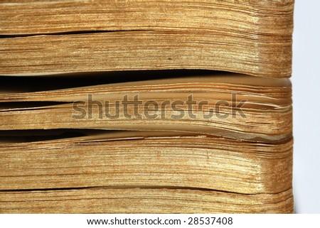 Closeup of an ancient book - stock photo