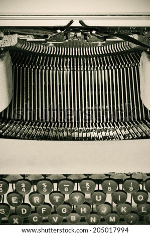 closeup of an ancient typewriter - stock photo