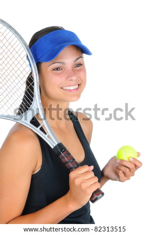 Closeup of an attractive young female tennis player with racket over her shoulder and a ball in her other hand. Vertical format isolated on white.