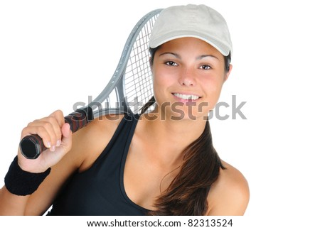Closeup of an attractive young female tennis player with racket over her shoulder. Horizontal format isolated on white.