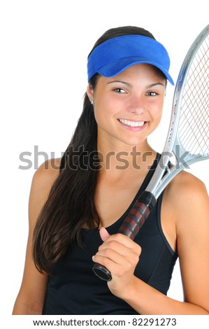 Closeup of an attractive young female tennis player with racket over her shoulder. Vertical format isolated on white.