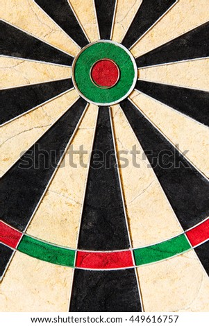 closeup of an dartboard with triples and bullseye