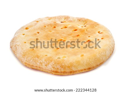 closeup of an empanada gallega, a savory stuffed cake of Galicia, Spain, on a white background - stock photo