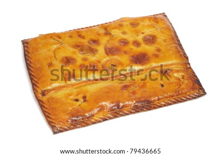 closeup of an empanada gallega, a typical cake stuffed with tuna or meat, from Galicia, Spain - stock photo