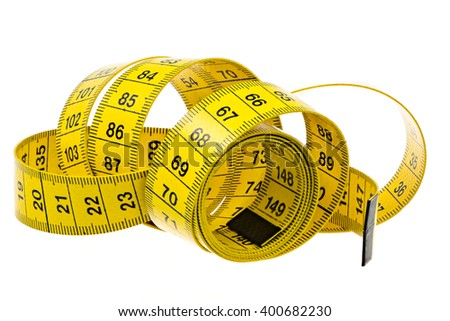 Closeup of an isolated yellow measuring tape - stock photo