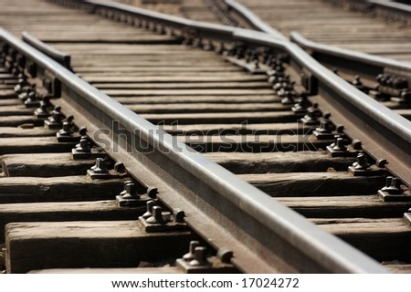 Closeup of an old railway junction - stock photo
