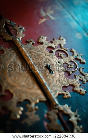 Closeup of an old vintage lock  - stock photo