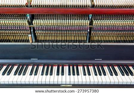 Closeup of an open piano - stock photo