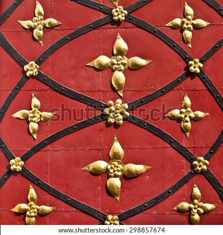 Closeup of an ornamental historic door in G�¶rlitz, Germany - stock photo