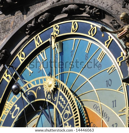 Closeup of ancient Clock in main square in Prague, Czech Republic