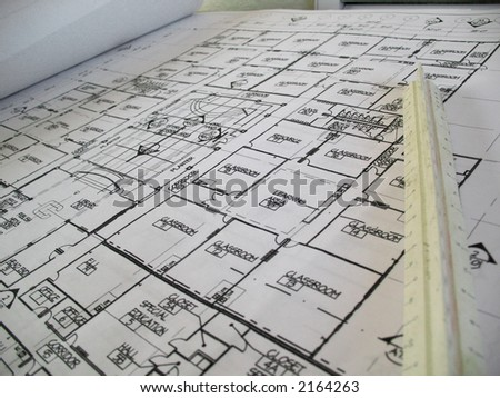 Closeup of architectural drawings for an elementary school - stock photo