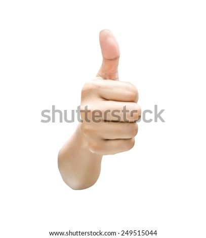 Closeup of asia female  hand showing thumbs up isolated white background - stock photo