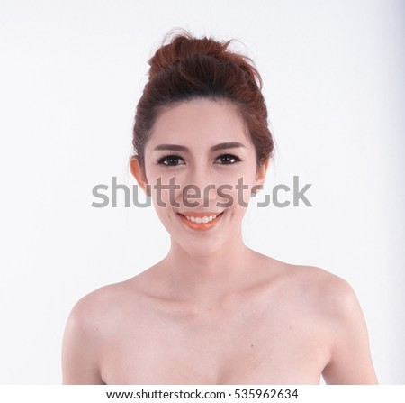 closeup of asia happy woman posing on white background