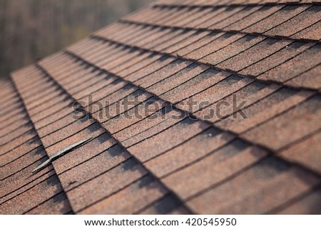 Closeup of asphalt shingles - stock photo