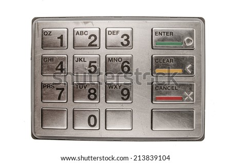 Closeup of atm machine with metallic keyboard isolated on white - stock photo