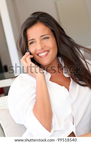 Closeup of attractive woman using cellphone